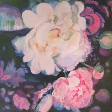 Original Oil Painting of Peony by Artist Dorate