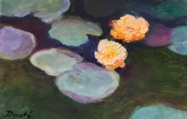 """Original Oil Painting by Artist Dorate """"Two Lilies"""""""