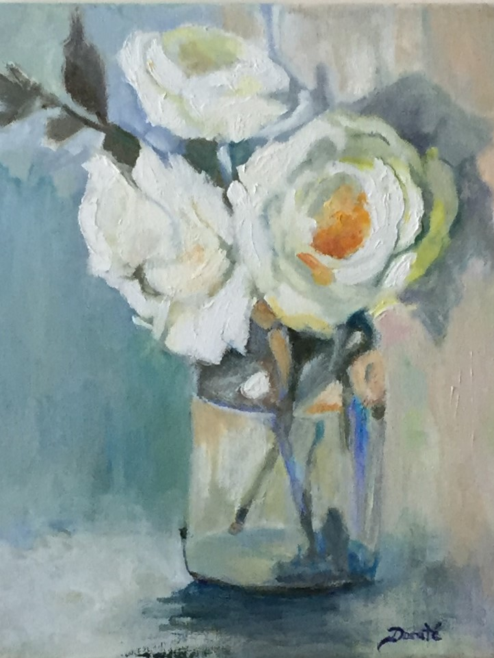 """Original Oil Painting by Dorate, """"White Roses"""""""